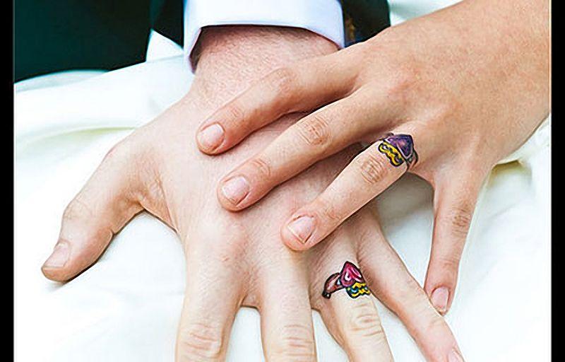 Colored Wedding Ring Tattoos: As Melhores Tatuagens De Aliança De Casamento (45 Fotos