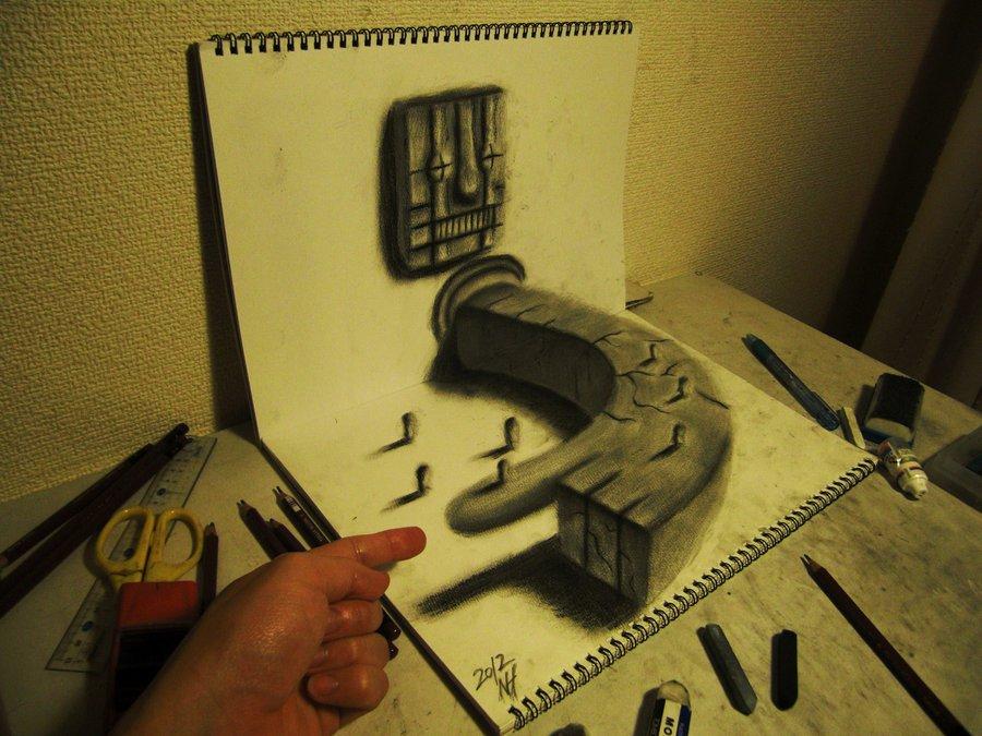 Intrincados e alucinantes desenhos a lápis em 3D 02