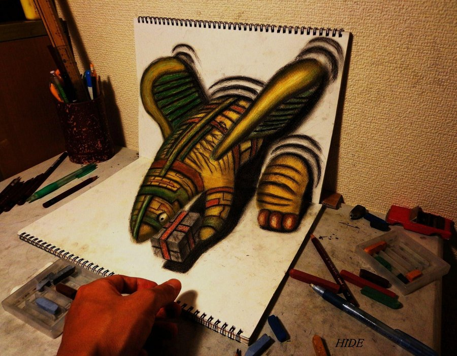 Intrincados e alucinantes desenhos a lápis em 3D 07