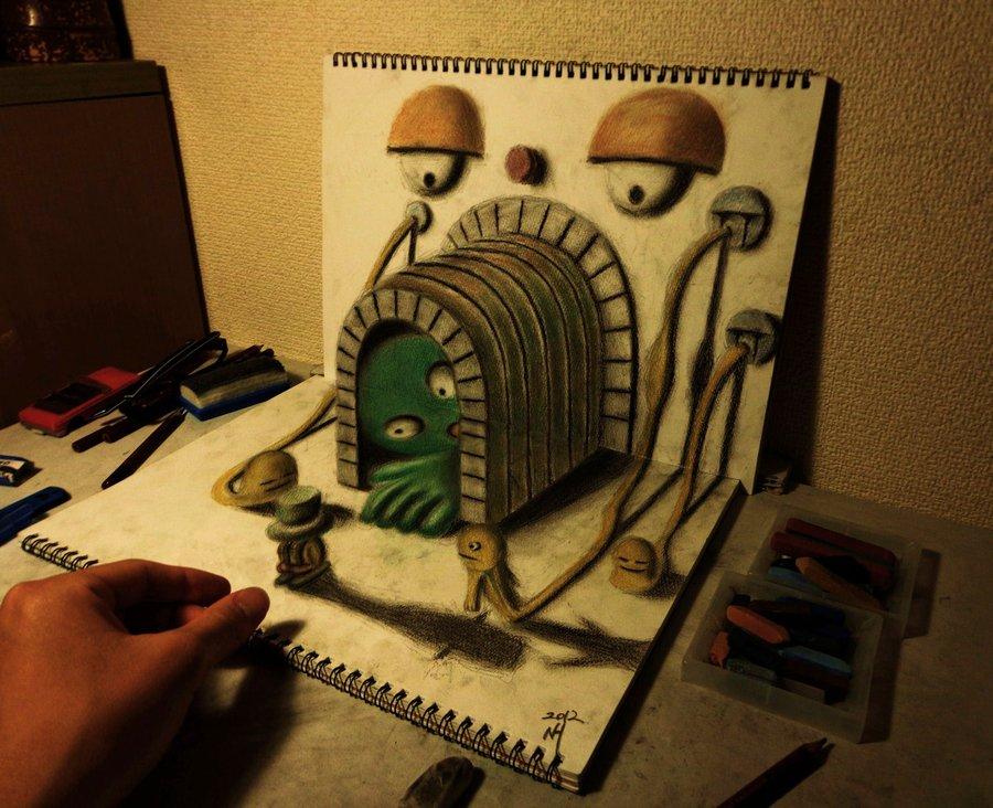 Intrincados e alucinantes desenhos a lápis em 3D 08