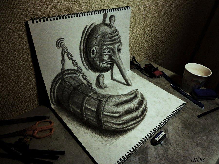 Intrincados e alucinantes desenhos a lápis em 3D 11
