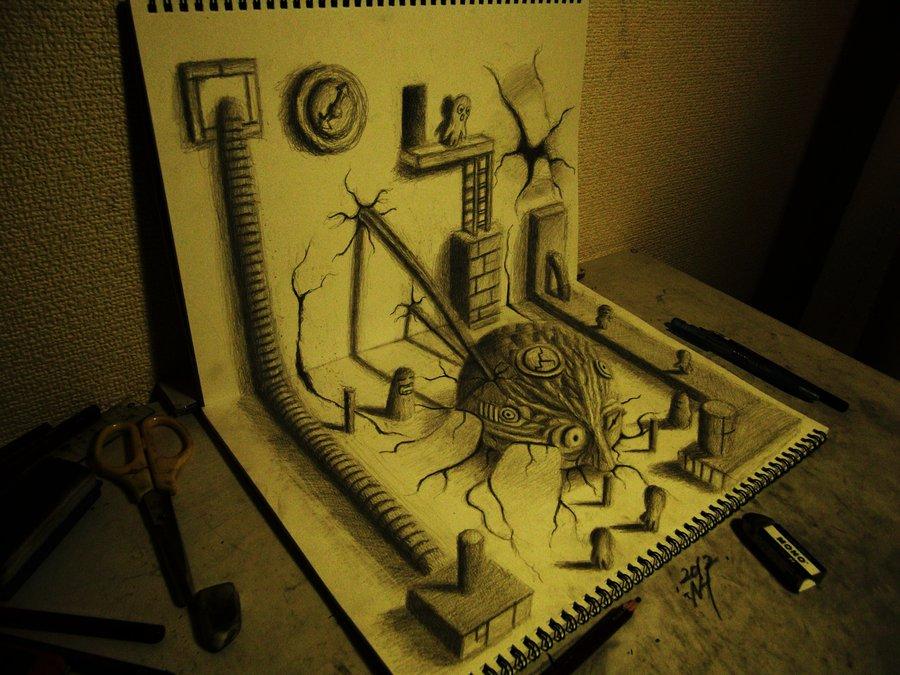Intrincados e alucinantes desenhos a lápis em 3D 14