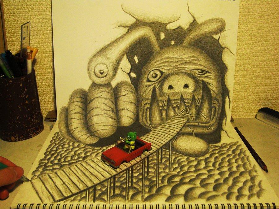 Intrincados e alucinantes desenhos a lápis em 3D 15