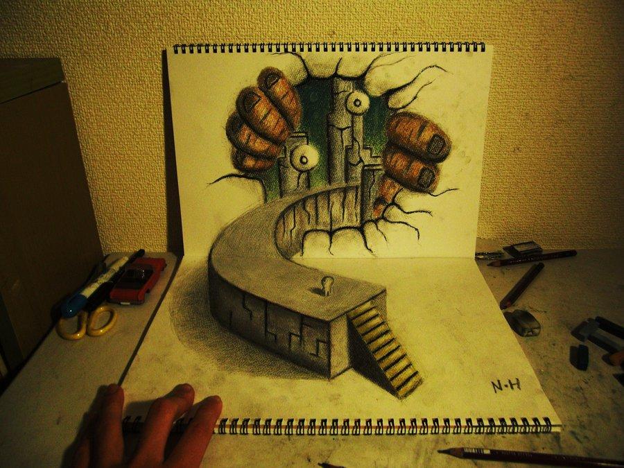 Intrincados e alucinantes desenhos a lápis em 3D 20