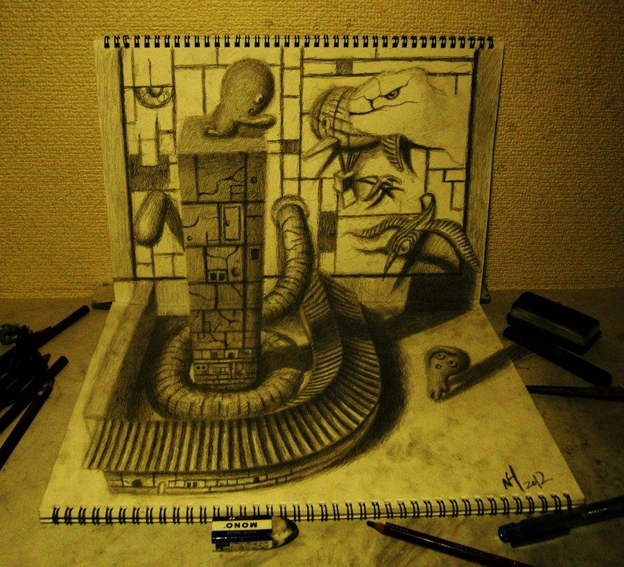 Intrincados e alucinantes desenhos a lápis em 3D 22