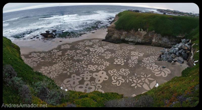 Obras de arte ef�meras na areia da praia 02