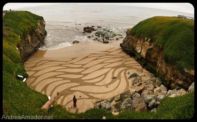 Obras de arte ef�meras na areia da praia 04