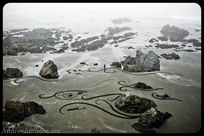 Obras de arte ef�meras na areia da praia 08