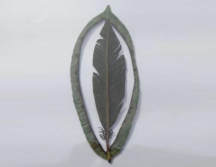 Arte em folhas de árvores 03