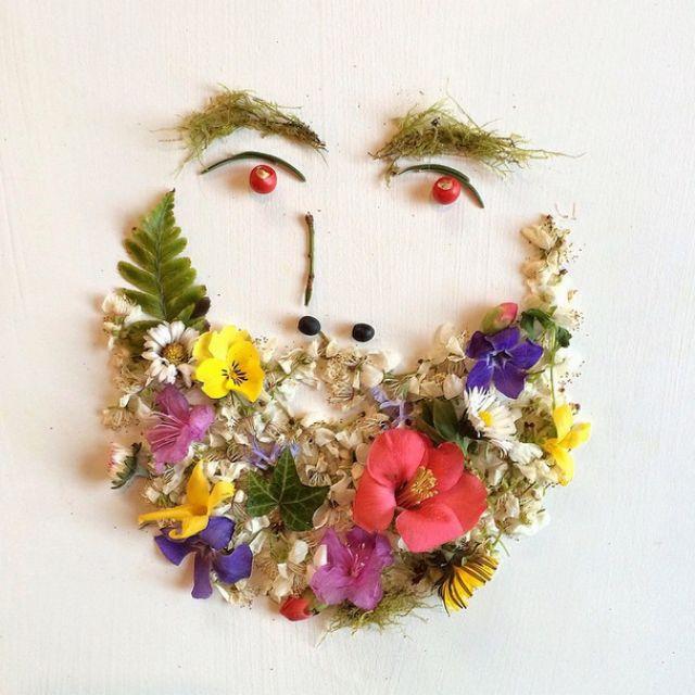 Artista cria belas colagens com flores e plantas 02