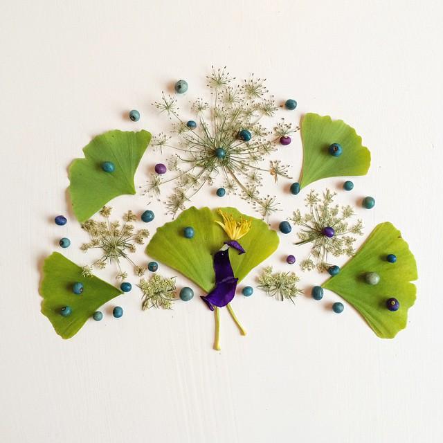 Artista cria belas colagens com flores e plantas 05