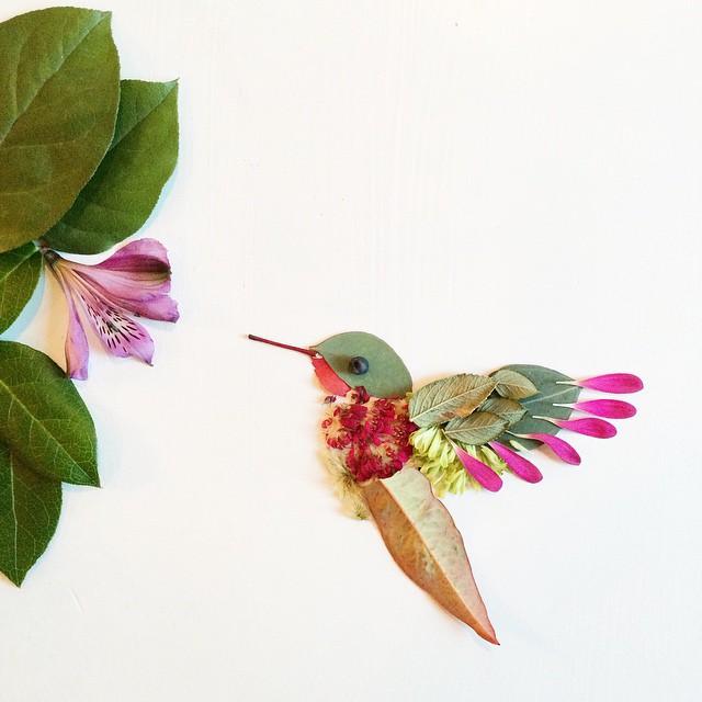 Artista cria belas colagens com flores e plantas 06