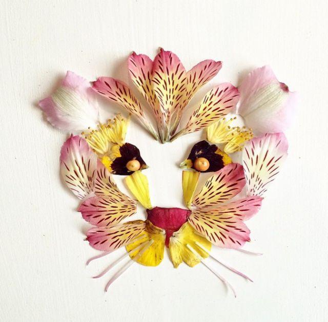 Artista cria belas colagens com flores e plantas 11