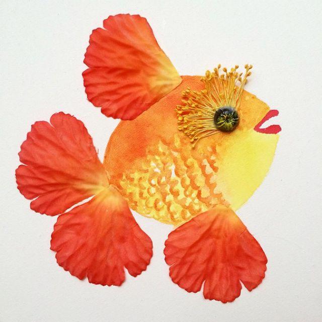 Artista cria belas colagens com flores e plantas 12