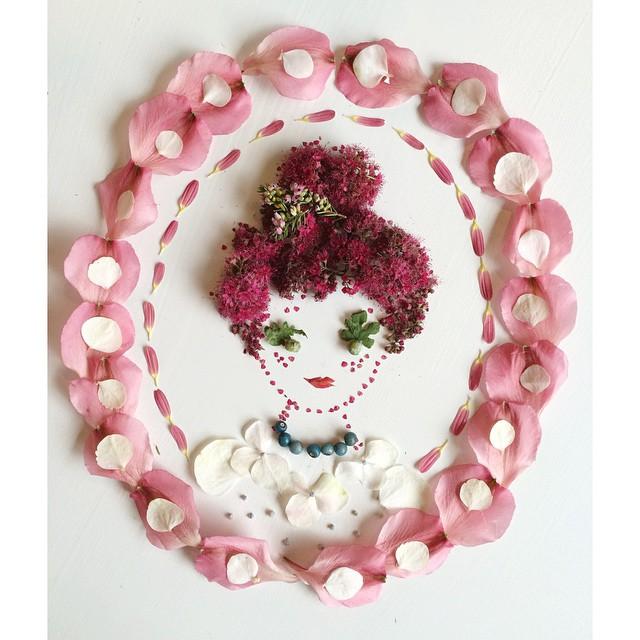 Artista cria belas colagens com flores e plantas 17