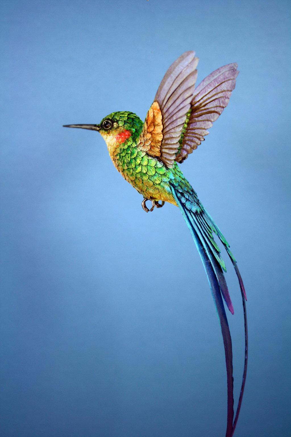 Pássaros artesanais feitos com madeira e papel por Zack Mclaughlin 02