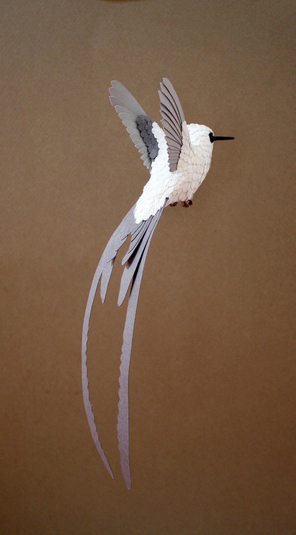 Pássaros artesanais feitos com madeira e papel por Zack Mclaughlin 09