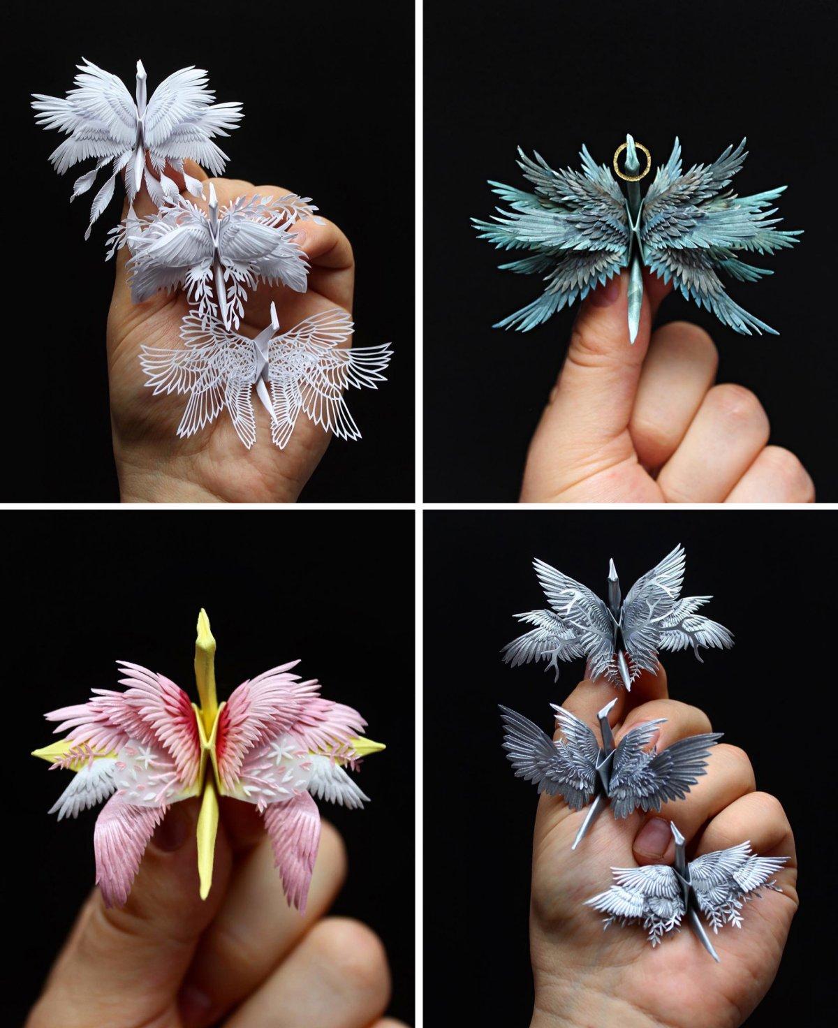 Este artista cria elegantes garças de papel compostos por intrivados cortes dobras e flores 07