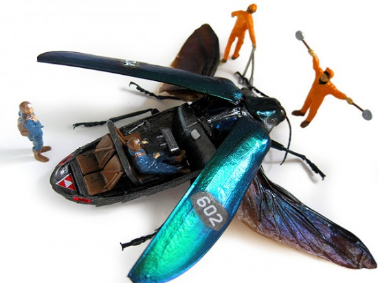 Micromachina, as esculturas com insetos de Scott Bain 01