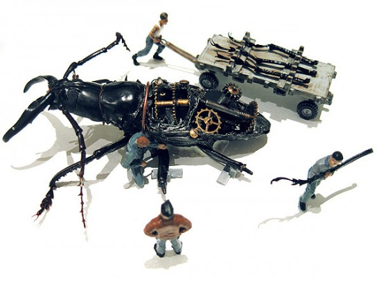 Micromachina, as esculturas com insetos de Scott Bain 03