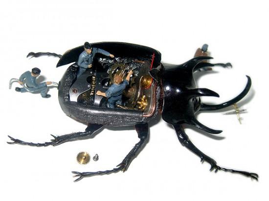 Micromachina, as esculturas com insetos de Scott Bain 04