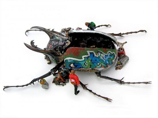 Micromachina, as esculturas com insetos de Scott Bain 06