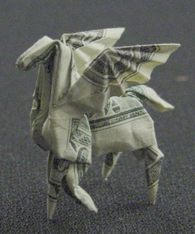 Incrível origami feito com cédulas 10