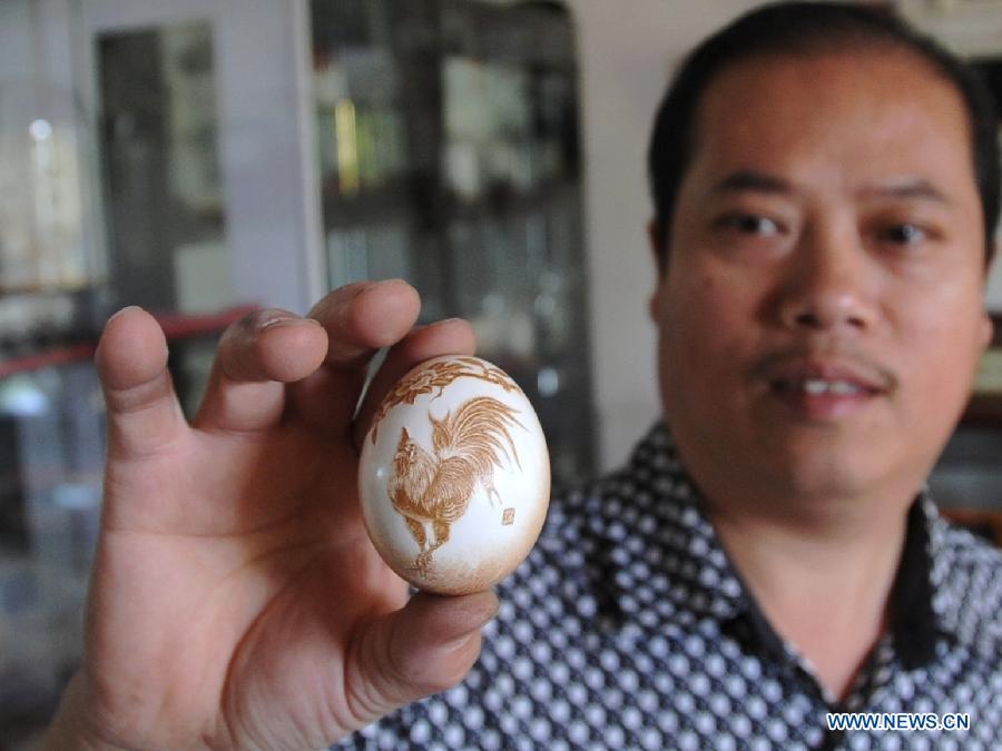 A requintada arte em ovos cinzelados de Pu Derong 05