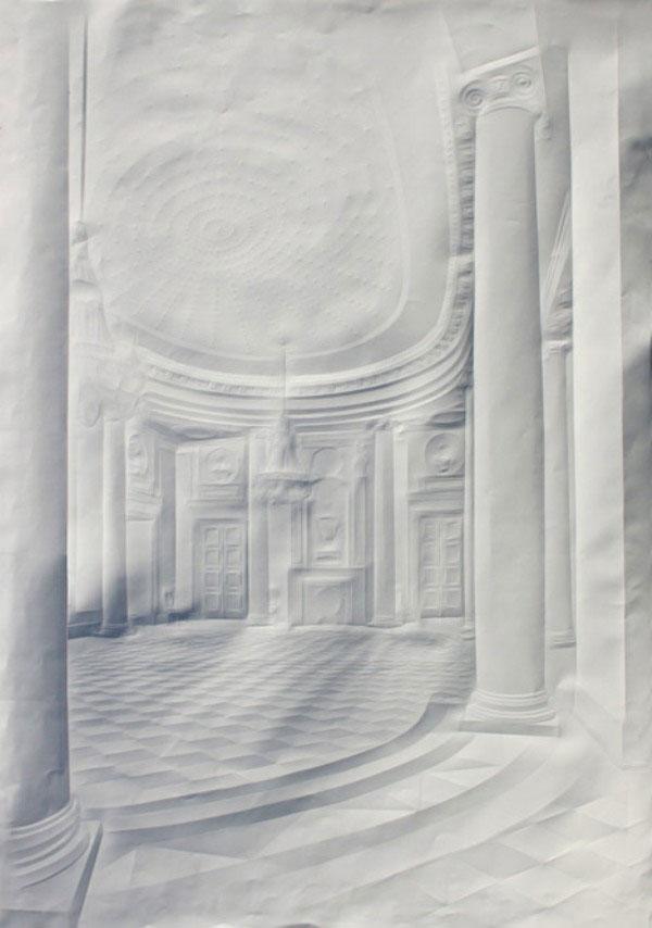Obras de arte feitas com folha de papel vincado 06