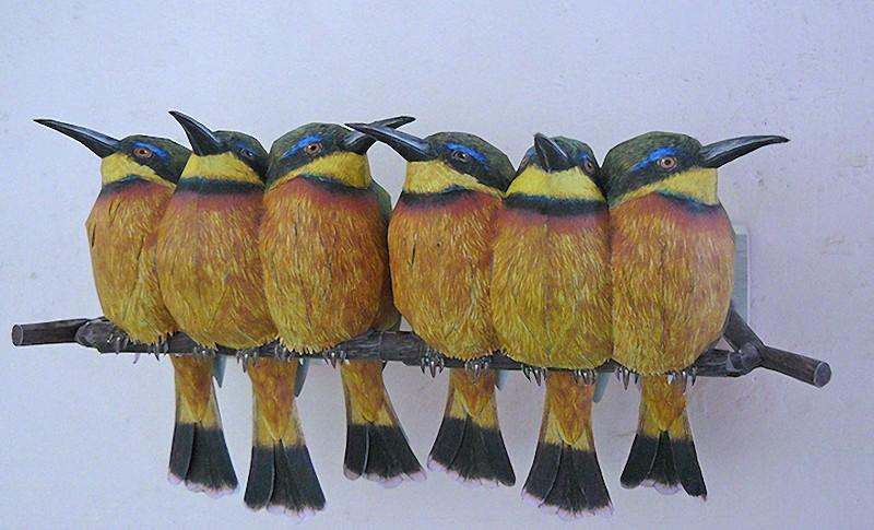 Artista incríveis pássaros realistas em papercraft 06