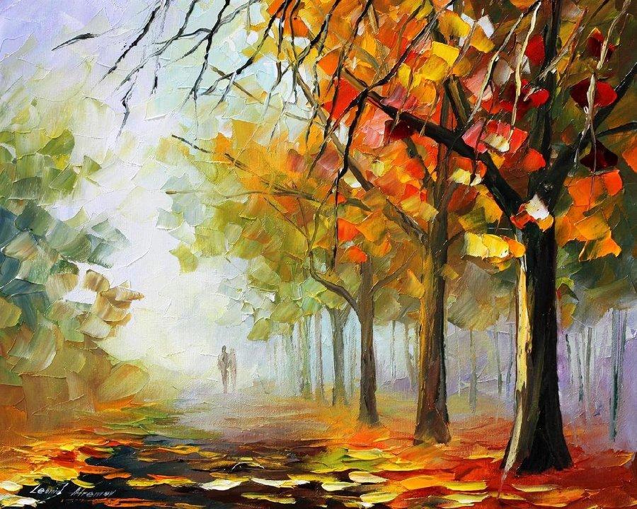 Belas pinturas a óleo usando somente a espátula da paleta 02