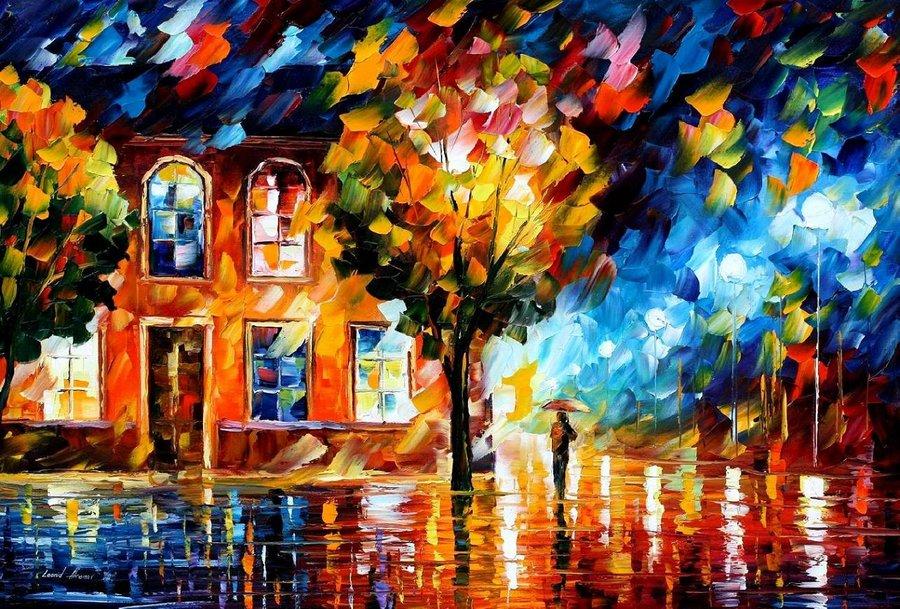 Belas pinturas a óleo usando somente a espátula da paleta 04