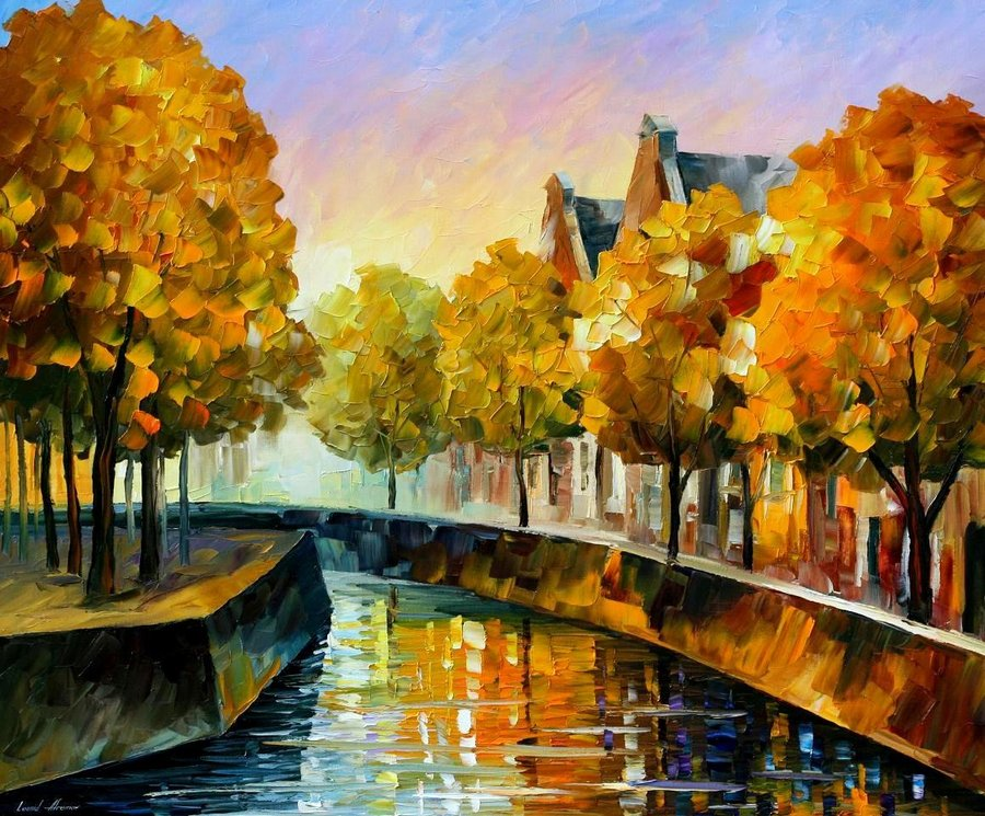 Belas pinturas a óleo usando somente a espátula da paleta 06