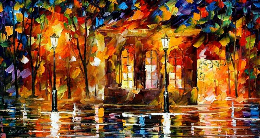 Belas pinturas a óleo usando somente a espátula da paleta 08