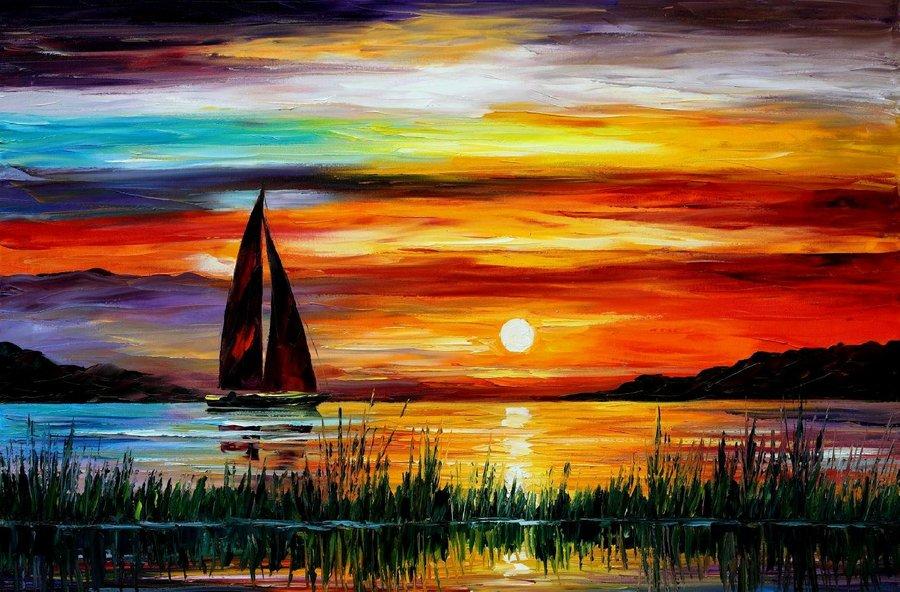 Belas pinturas a óleo usando somente a espátula da paleta 09