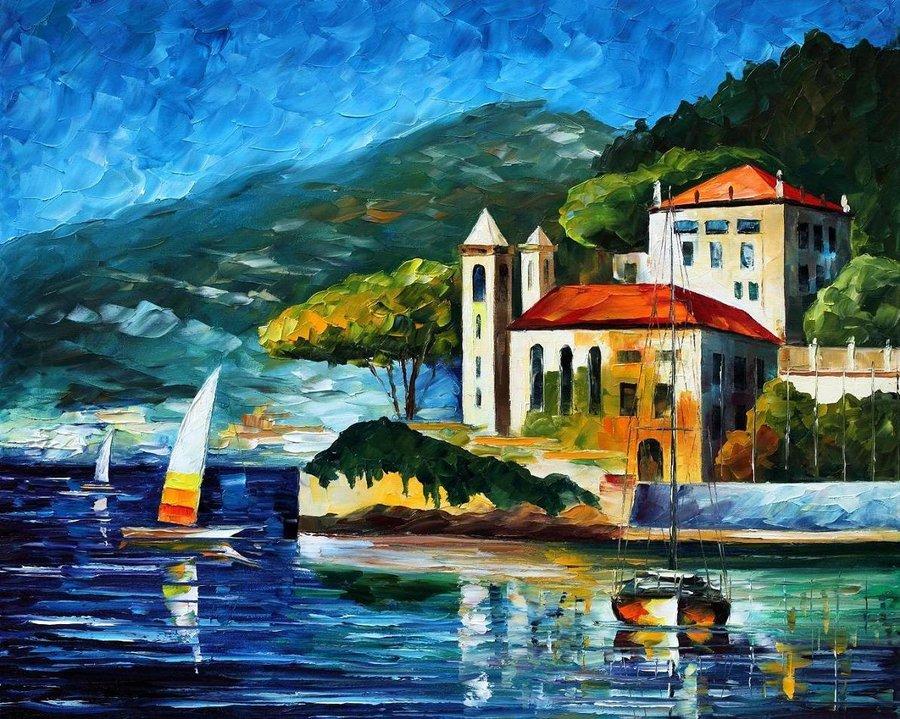 Belas pinturas a óleo usando somente a espátula da paleta 11