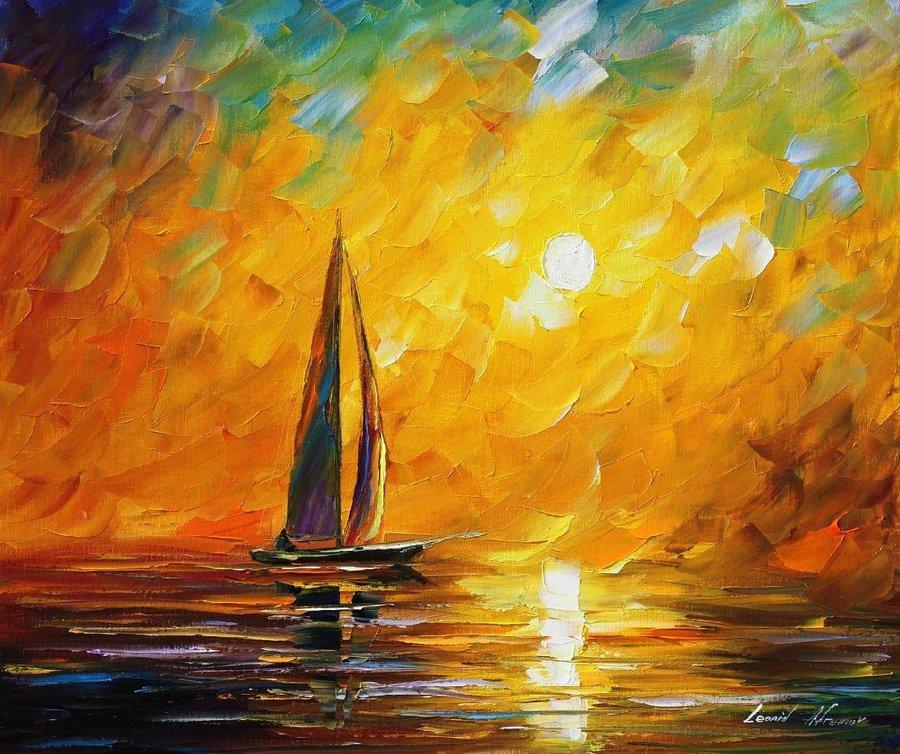 Belas pinturas a óleo usando somente a espátula da paleta 15