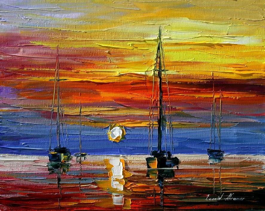Belas pinturas a óleo usando somente a espátula da paleta 16