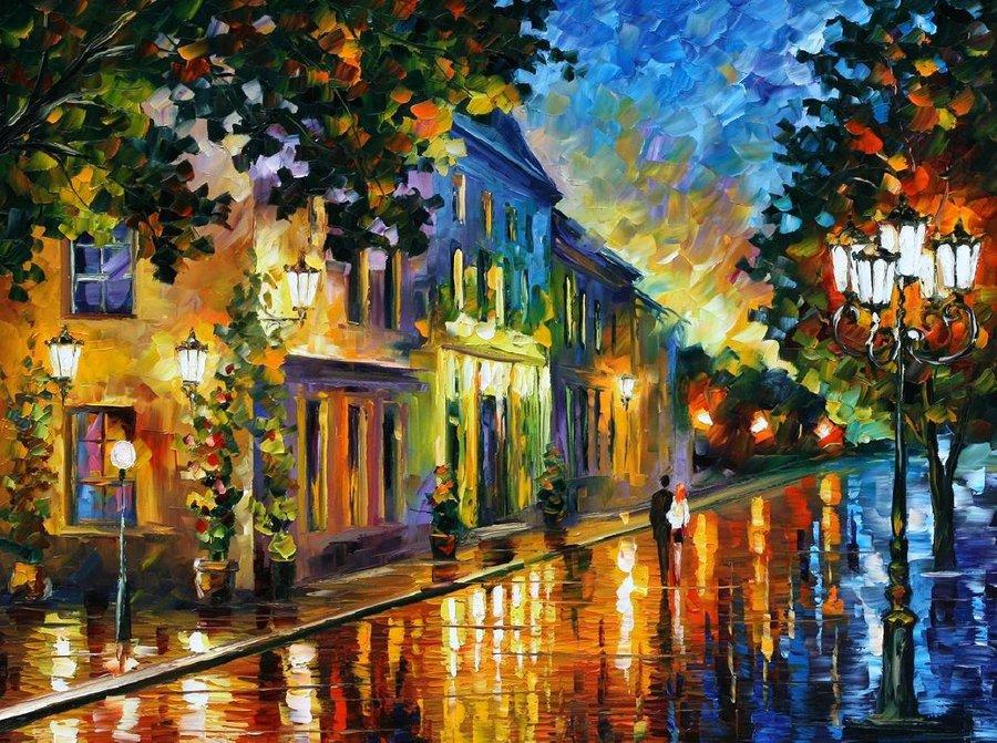 Belas pinturas a óleo usando somente a espátula da paleta 18