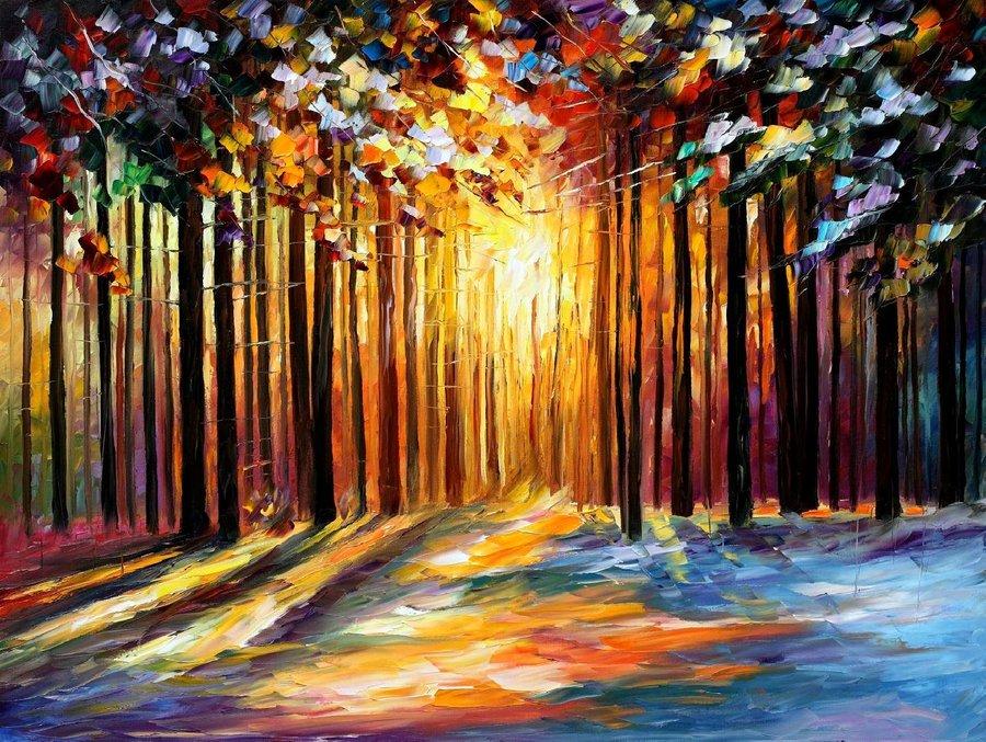 Belas pinturas a óleo usando somente a espátula da paleta 22