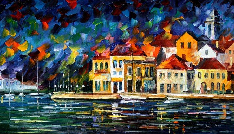 Belas pinturas a óleo usando somente a espátula da paleta 26
