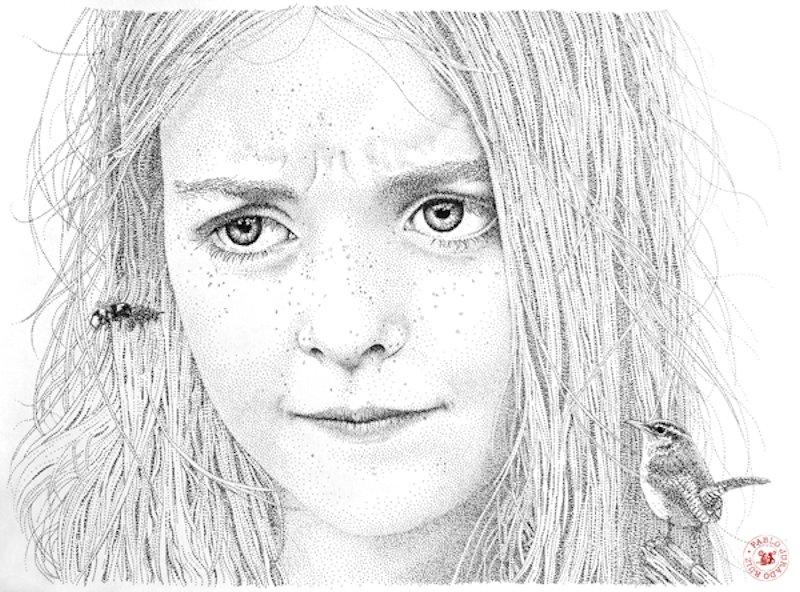 Retratos realistas criados exclusivamente com pontos de tinta 01