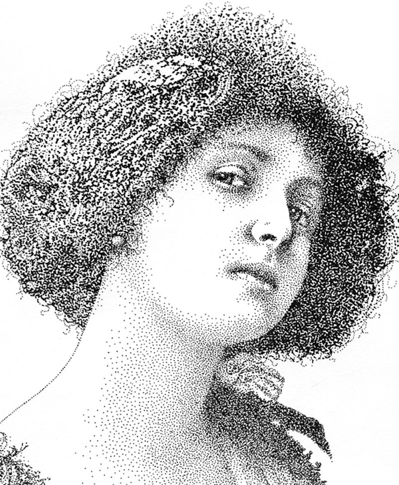 Retratos realistas criados exclusivamente com pontos de tinta 12