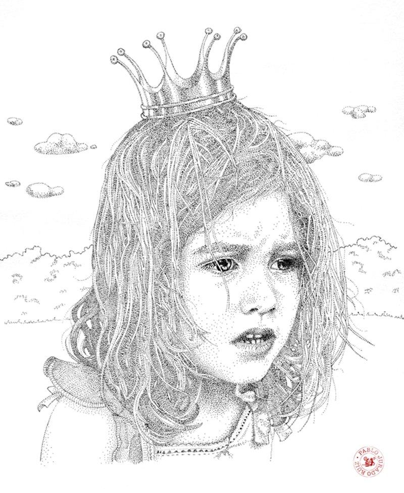 Retratos realistas criados exclusivamente com pontos de tinta 13