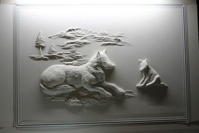 Artista transforma gesso comum em espetaculares murais em alto relevo 07