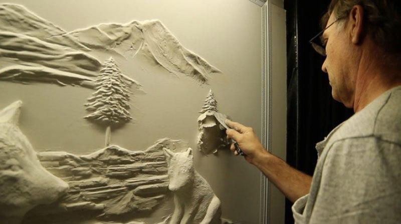 Artista transforma gesso comum em espetaculares murais em alto relevo 13