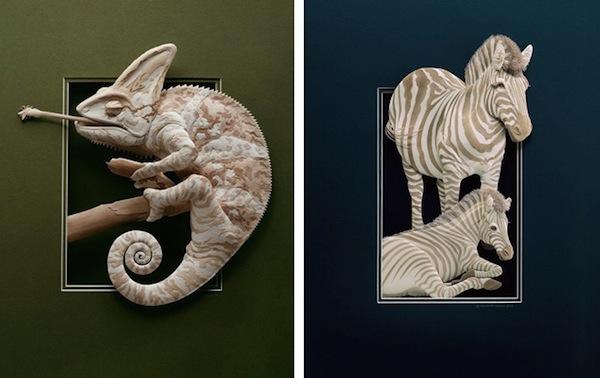 Artista cria um zoológico de papel 03