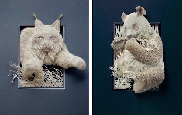 Artista cria um zoológico de papel 04