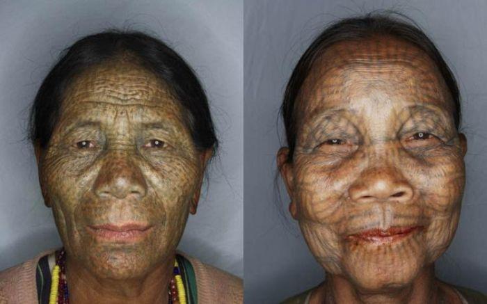 As mulheres de rosto tatuado de Myanmar 01