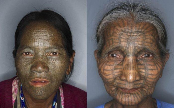 As mulheres de rosto tatuado de Myanmar 02